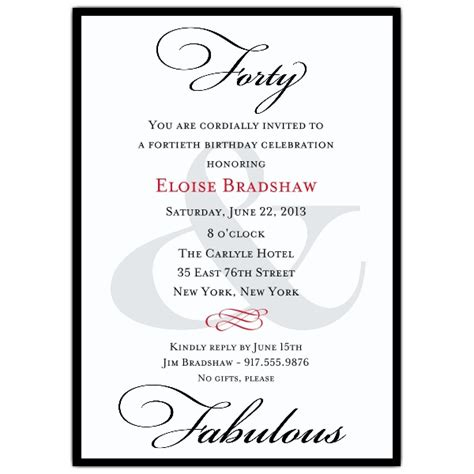 40th birthday invitations templates classic 40th birthday milestone invitations paperstyle