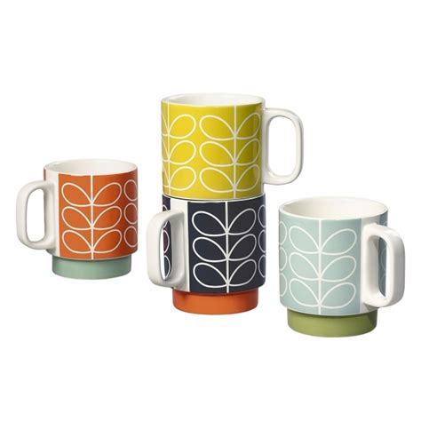 Matching Abacus Wallet Set By Orla Kiely by Orla Kiely Linear Stem Ceramic Stacking Mugs Set Of 4