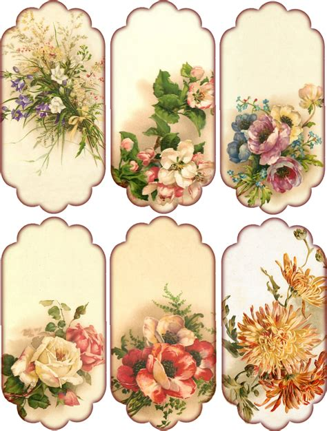 Floral Craft Paper - labels etiketten on gift tags