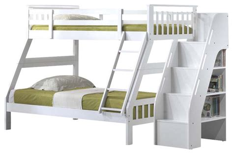 bunk bed stairway youth bunk bed with attached stairway bookcase white