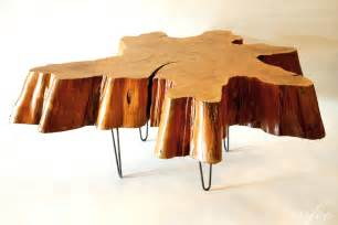Stump Coffee Table Reclaimed Tree Stump Coffee Table On Vintage Hairpin Legs