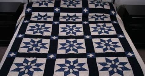 Amish Patchwork Quilts For Sale - dahlia blue and white amish quilt for sale quilts