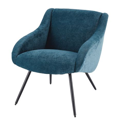 In A Blue Armchair by Velvet Vintage And Metal Armchair In Blue Joyce Maisons
