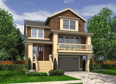 Narrow Craftsman With Drive Under Garage 23270jd 2nd Narrow Lot House Plans With Drive Garage