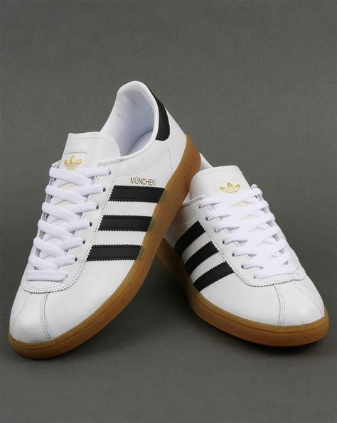 white black adidas munchen trainers white black leather originals