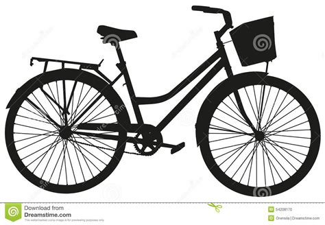Clip Sepeda Bmx Black black vector silhouette of a bicycle with a basket stock