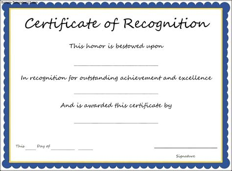 certificate of recognition template sle templates