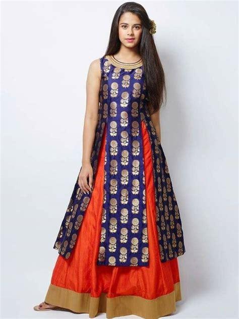 New Blouse Dress buy new designer blue jacquard orange indo western style