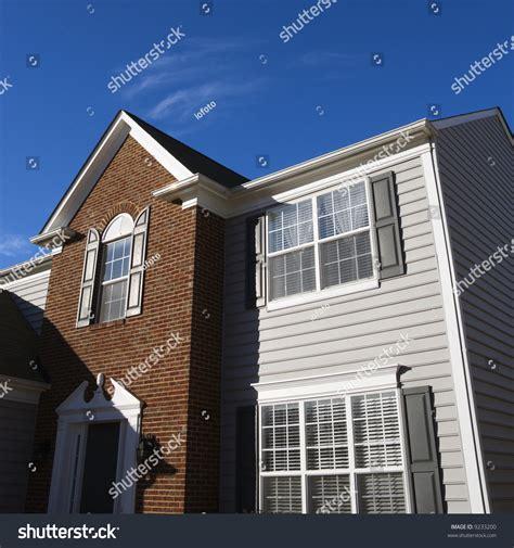 exterior brick siding exterior house with vinyl siding exterior of brick and vinyl siding house stock photo