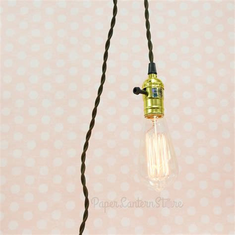 Pendant Light With Cord Single Gold Socket Pendant Light L Cord Kit W Dimmer 11ft Ul Approved Brown Cloth On