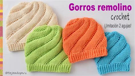 tejiendo a dos agujas gorros remolino tejidos a crochet imitaci 243 n dos agujas