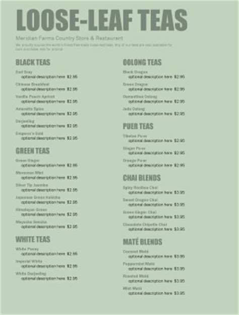 tea house menu tea room menu coffee house menus