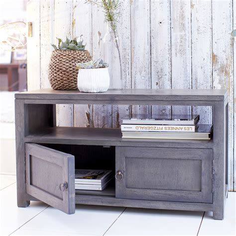 Grey Tv Cabinet by Tikamoon Solid Painted Grey Small Wood Mindi Tv Stand Tv