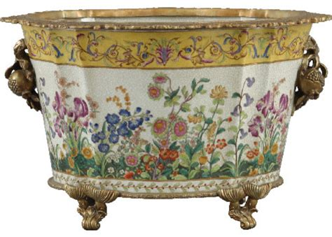Porcelain Planters by Porcelain Basin With Bronze Ormolu Traditional Indoor