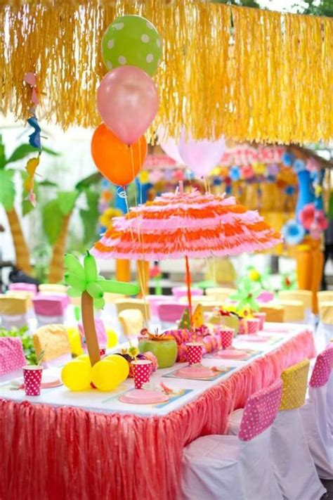 dollar tree birthday decorations grass skirt paper umbrellas and dollar tree on