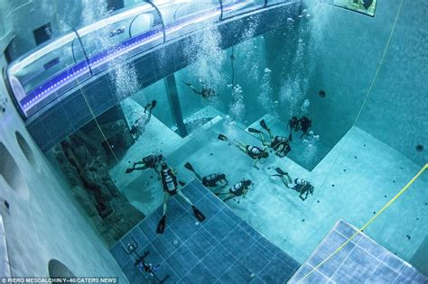 well water in pool inside world s deepest thermal water pool daily mail