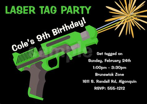 Laser tag birthday invitations bagvania invitations ideas