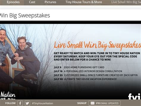 Tiny House Sweepstakes 2016 - fyi tiny house nation live small win big sweepstakes sweepstakes fanatics