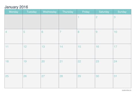 printable planner for january 2016 january 2016 printable calendar icalendars net