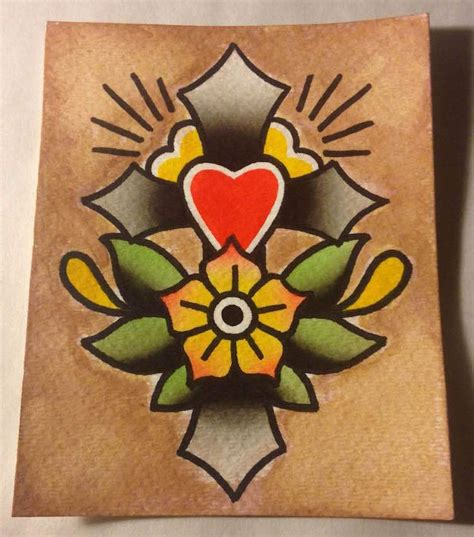 tattoo flash watercolor supplies watercolor tattoo 4x5in cross flower traditional