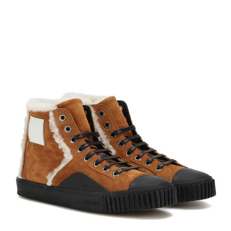 brown balenciaga sneakers balenciaga suede high top trainers in brown save