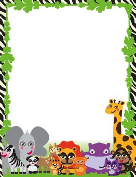 printable jungle writing paper cute jungle animal border