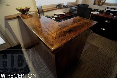 Wood Reception Desks Custom Reclaimed Wood Reception Desk Burlington Ontario Gerald Reinink 5