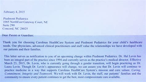 Patient Transition Letter Chs Sends Letter To Patients About Pediatric Doctor S Gender Www Wsoctv