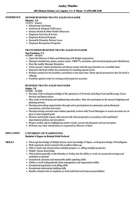 Travel Sle Resume by Travel Sales Manager Resume Sles Velvet