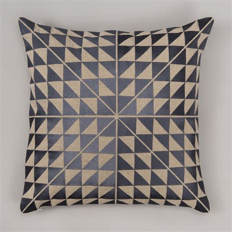 Handcrafted Cushions - geocentric cushion cover slate and linen niki
