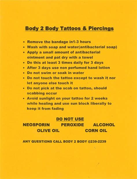tattoo removal aftercare instructions aftercare leaflet theleaf co