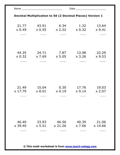Math Decimal Multiplication Worksheets by Decimals Division Worksheets Kelpies