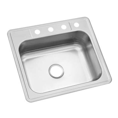 top mount single bowl kitchen sink glacier bay top mount stainless steel 25 in 4 single
