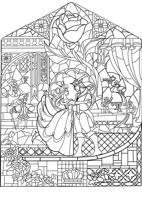 google coloring pages for adults beauty and the beast stained glass google search disney