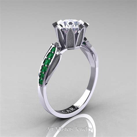 Green Cubic Zirconia 6 707 Ct cara 14k white gold 1 0 ct white cubic zirconia emerald