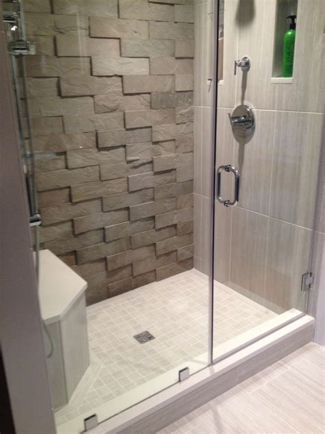 tile accent wall bathroom small shower room with frameless door feature 3d surface