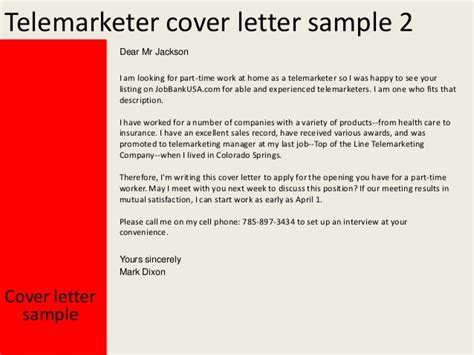 cover letter for telesales telemarketer cover letter