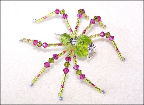 beaded sun aster green and pink glass beaded spider sun by