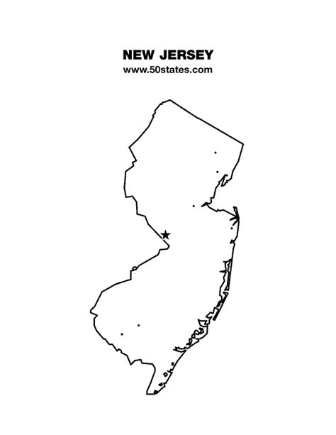 New Jersey State Map Outline by New Jersey Map