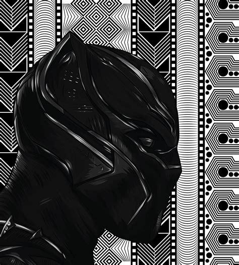 black jaguar pattern black panther king t challa vector portrait collab on