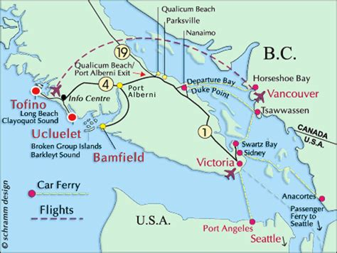map of usa and canada west coast pacific ucluelet bed and breakfast ucluelet