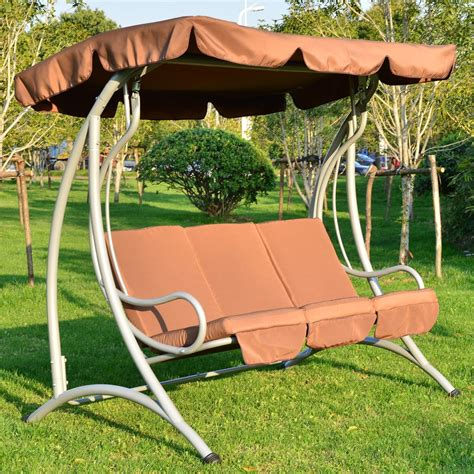 metal garden swing seat outsunny rattan double swing recliner chairs with canopy