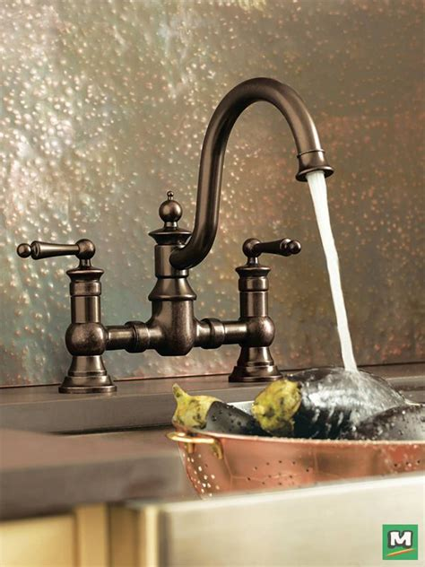 farmhouse kitchen faucets of vintage character and farmhouse fresh style the moen 174 waterhill 174 two handle kitchen