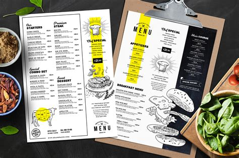 food menu design template a4 food menu templates for restaurants in psd ai vector