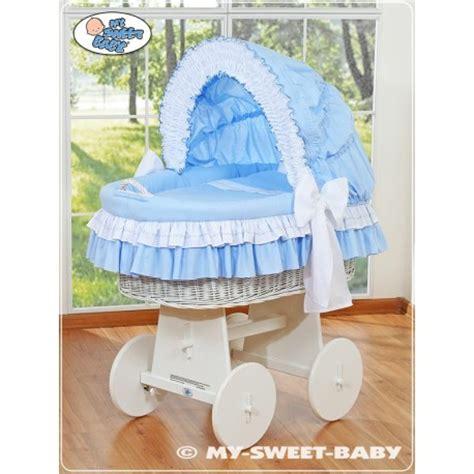 wicker crib cradle moses basket bellamy blue wicker cribs