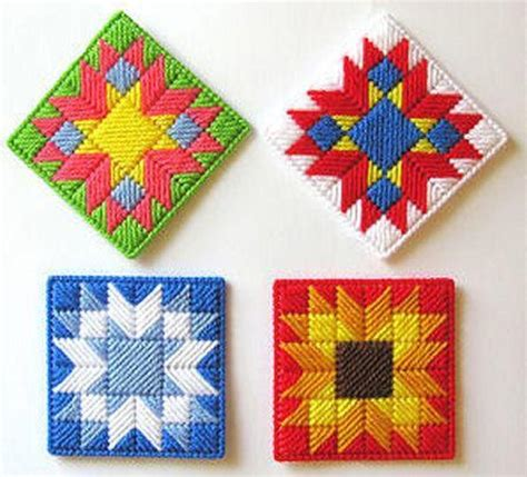 Free Patterns In Plastic Canvas | patchwork coasters free pattern nuts about needlepoint