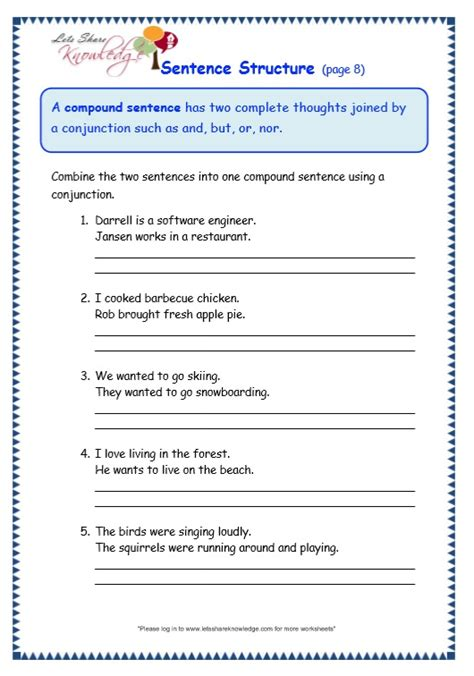 6th Grade Sentence Structure Worksheets by All Worksheets 187 Sentence Structure Worksheets For