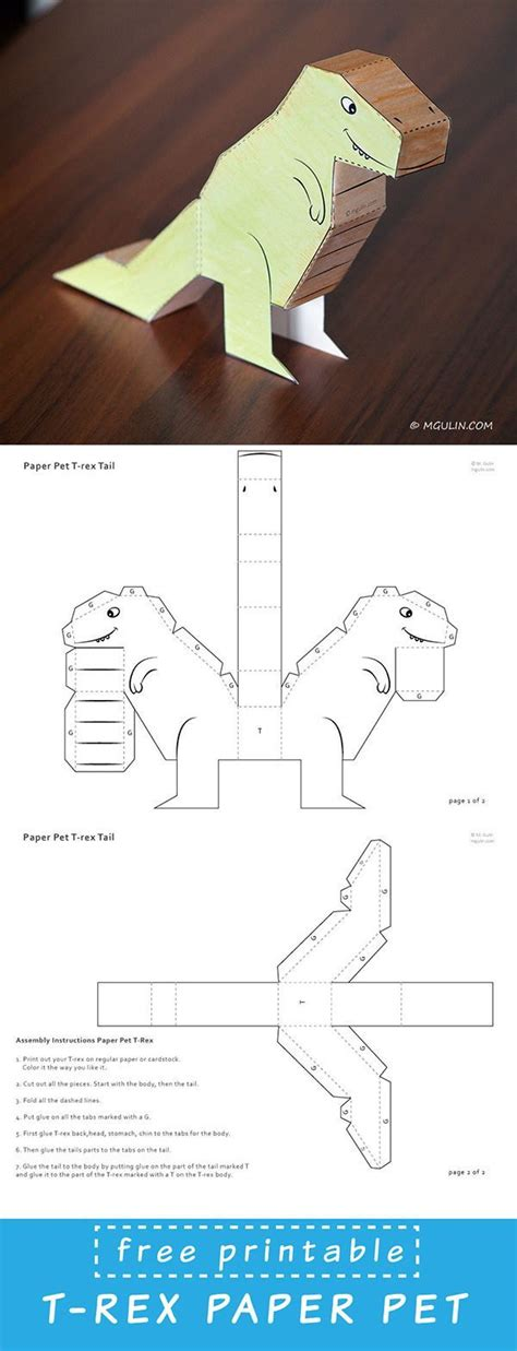 How To Make Dinosaurs Out Of Paper - free dinosaur paper printable dowload template just