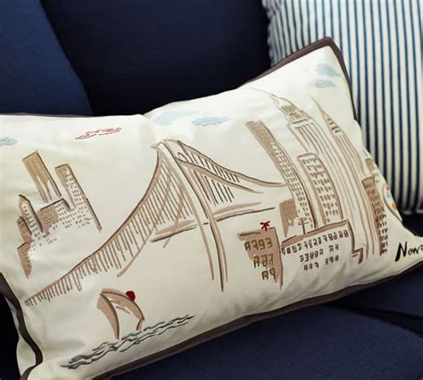 New York Embroidered Pillow by New York City Embroidered Lumbar Pillow Cover Pottery Barn