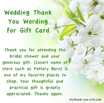 thank you for our wedding gift cards bridal shower thank you quotes quotesgram